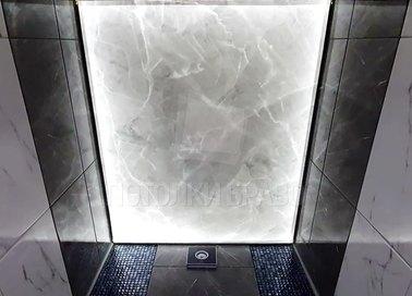 Матовый натяжной потолок под мрамор для туалета НП-1476