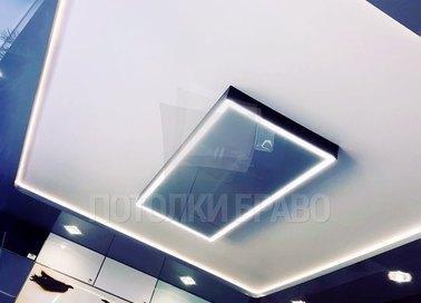 Двухцветный матовый натяжной потолок с подсветкой НП-1751