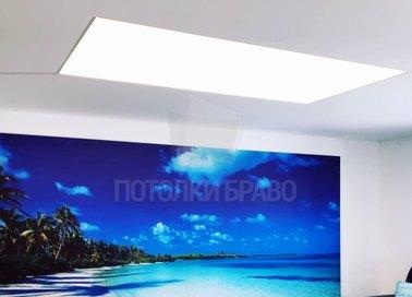 Матовый натяжной потолок с освещением по центру НП-1517