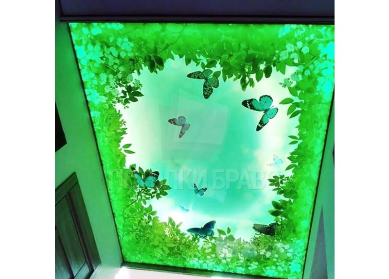 Зеленый матовый натяжной потолок с листочками НП-1525