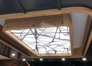 Сложный матовый натяжной потолок с деревом НП-1526