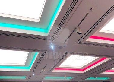 Сложный матовый натяжной потолок с красным освещением НП-1528 - фото 2
