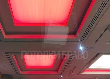 Сложный матовый натяжной потолок с красным освещением НП-1528 - фото 3