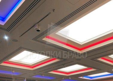 Сложный матовый натяжной потолок с красным освещением НП-1528