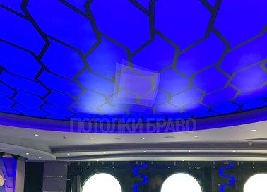 Синий матовый натяжной потолок для общественного помещения НП-1529