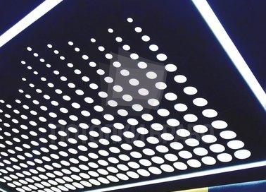 Матовый синий натяжной потолок с кругами НП-1531