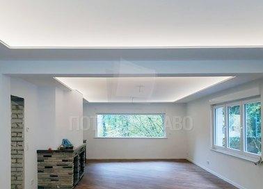 Матовый натяжной потолок с освещением по периметру НП-1532
