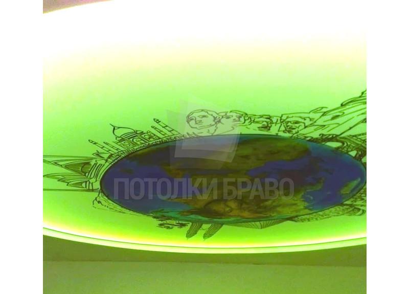Матовый натяжной потолок с изображением земли НП-1533