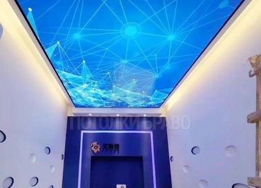Матовый синий натяжной потолок с линиями НП-1536