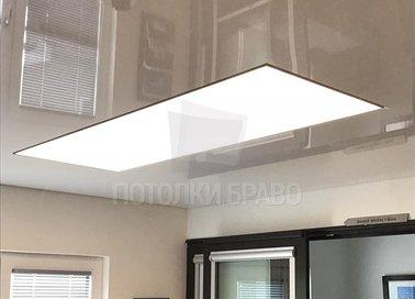 Сложный матовый натяжной потолок с глянцевой подсветкой НП-1539