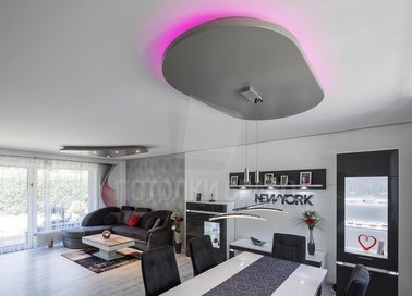 Сложный натяжной потолок с подсветкой НП-1558