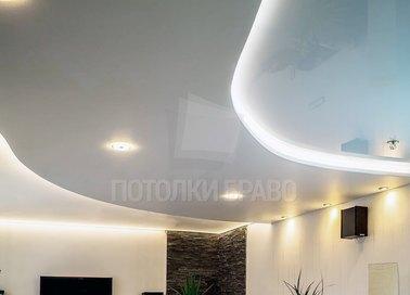 Матовый двухуровневый с подсветкой натяжной потолок НП-1571