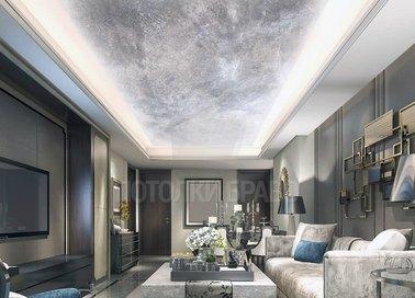 Мраморный с подсветкой в гостиную натяжной потолок НП-1573
