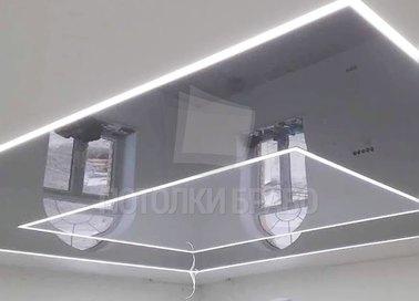 Матовый двухцветный серый с подсветкой натяжной потолок НП-1574 - фото 2