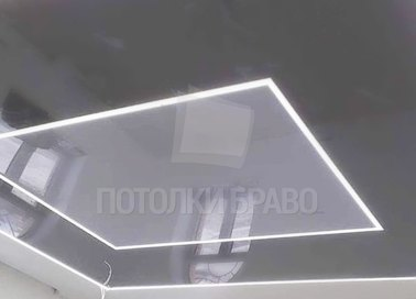 Матовый двухцветный серый с подсветкой натяжной потолок НП-1574 - фото 3