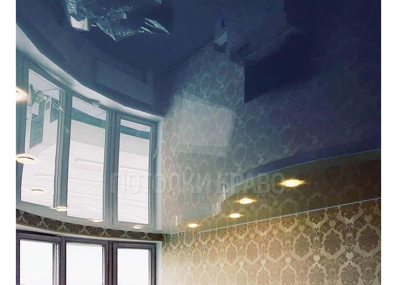 Синий волнообразный натяжной потолок НП-1585