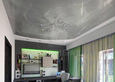 Белый натяжной потолок с вставкой серого мрамора НП-1586