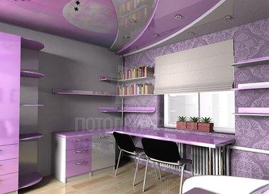 Многоуровневый двухцветный натяжной потолок НП-1594 - фото 2
