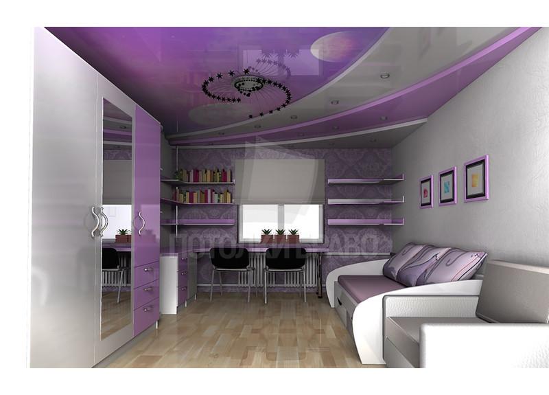 Многоуровневый двухцветный натяжной потолок НП-1594