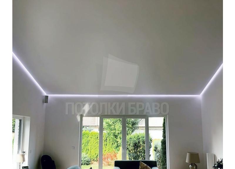 Серый матовый натяжной потолок с освещением по периметру НП-1599