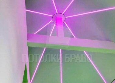 Натяжной потолок в форме купола с подсветкой-паутиной НП-1607 - фото 2