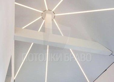 Натяжной потолок в форме купола с подсветкой-паутиной НП-1607