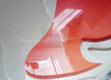 Многоуровневый красно-белый натяжной потолок НП-1618 - фото 2