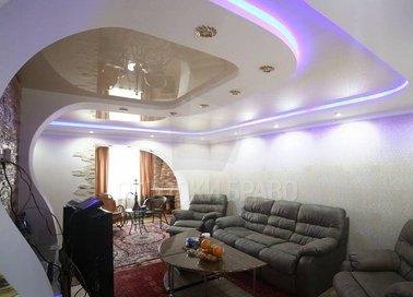 Бело-молочный двухуровневый натяжной потолок НП-1619