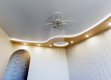 Двухуровневый желто-белый натяжной потолок НП-1637
