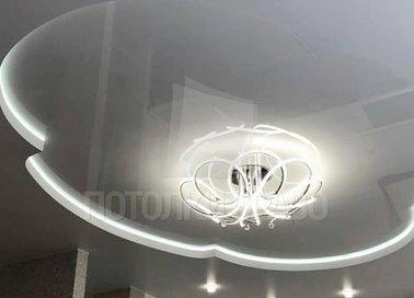 Цветочный белый матовый натяжной потолок НП-1638