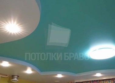 Голубой фактурный матовый натяжной потолок НП-1649