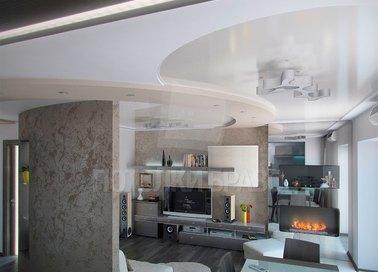 Многоуровневый бежевый натяжной потолок для квартиры-студии НП-1654 - фото 2