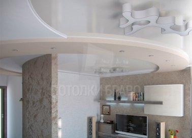 Многоуровневый бежевый натяжной потолок для квартиры-студии НП-1654 - фото 3