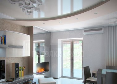 Многоуровневый бежевый натяжной потолок для квартиры-студии НП-1654 - фото 4