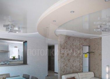 Многоуровневый бежевый натяжной потолок для квартиры-студии НП-1654