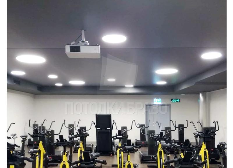Темно-серый матовый натяжной потолок для спорт-зала НП-1656