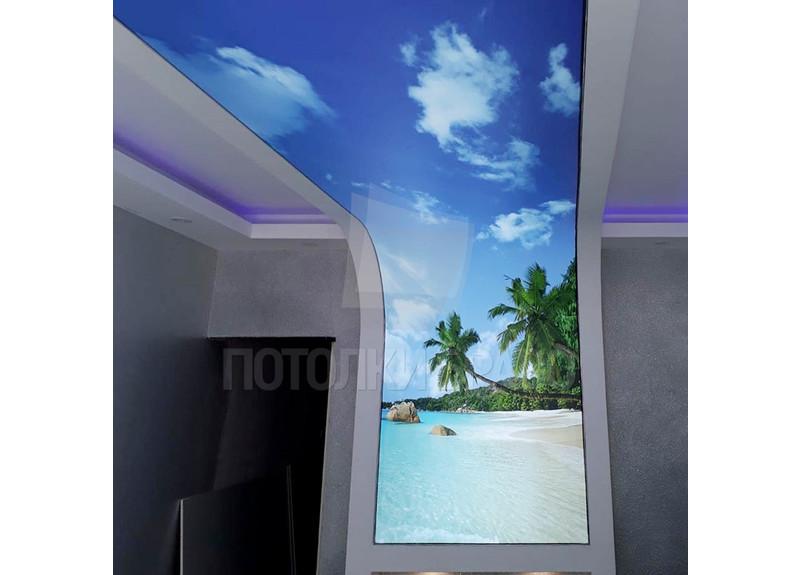 Сложный матовый натяжной потолок с пальмами и подсветкой НП-1658
