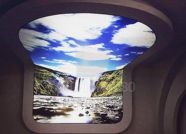 Сложный матовый натяжной потолок с водопадом НП-1660