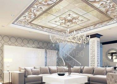 Бежевый матовый натяжной потолок с витражами НП-1682