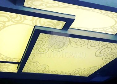 Сине-желтый натяжной потолок с узорами НП-1685