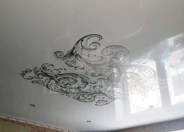 Абстрактный черно-белый натяжной потолок НП-1686 - фото 2