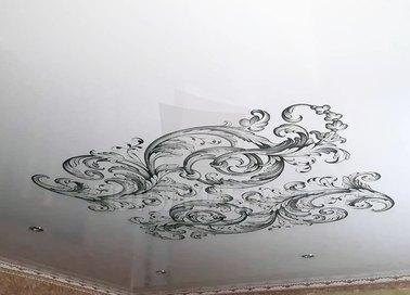Абстрактный черно-белый натяжной потолок НП-1686 - фото 3
