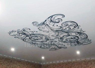 Абстрактный черно-белый натяжной потолок НП-1686