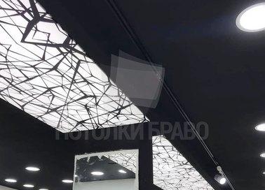 Матовый черный натяжной потолок с белым узором НП-1691 - фото 3