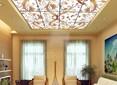 Матовый натяжной потолок с витражом и с золотым узором НП-169