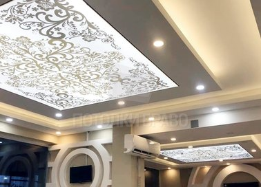 Матовый золотой натяжной потолок в гостиную НП-1707