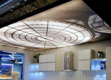Глянцевый натяжной потолок с изображением стеклянного купола НП-1731 - фото 2