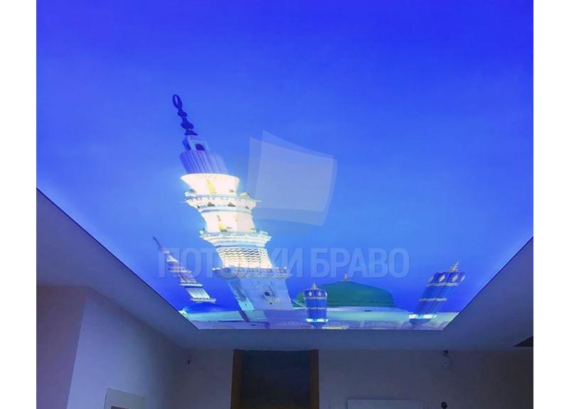 Матовый натяжной потолок с башней на голубом фоне НП-1737