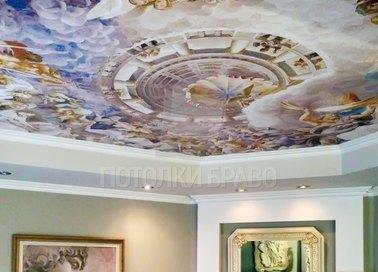 Матовый натяжной потолок в стиле барокко для жилой комнаты НП-1748