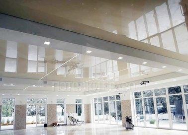 Нежно-коричневый матовый натяжной потолок для холла НП-983